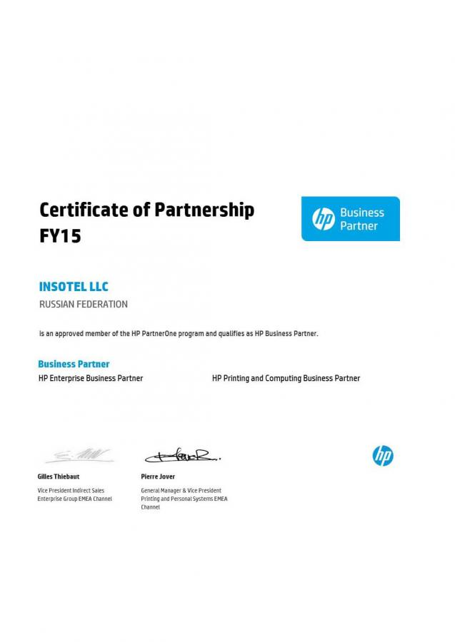 HP Certificate of Partnership FY15