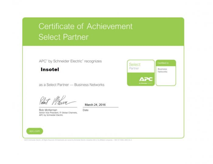 Сертификат: Инсотел  APC Select Partner - Bisness Networks 2016г