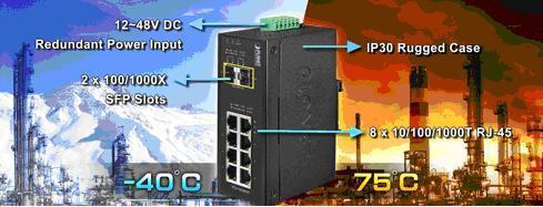 Промышленные управляемые коммутаторы и медиаконвертеры Planet могут стабильно работать при широком диапазоне температур от -40 до 75 градусов практически в любой сложной среде