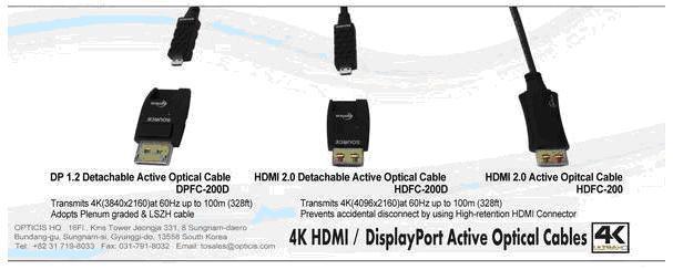 Среди новинок Opticis Особо отметим гибридные безгалогенные негорючие кабели трех моделей для передачи 4K UHD по оптоволокну до 100м.
