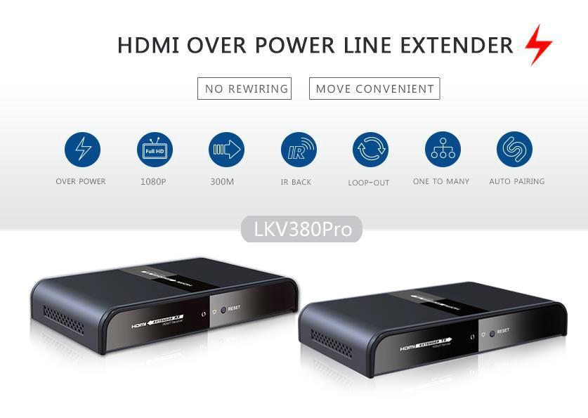 HDMI HDbitT Удлинитель по электросети Lenkeng LKV380Pro