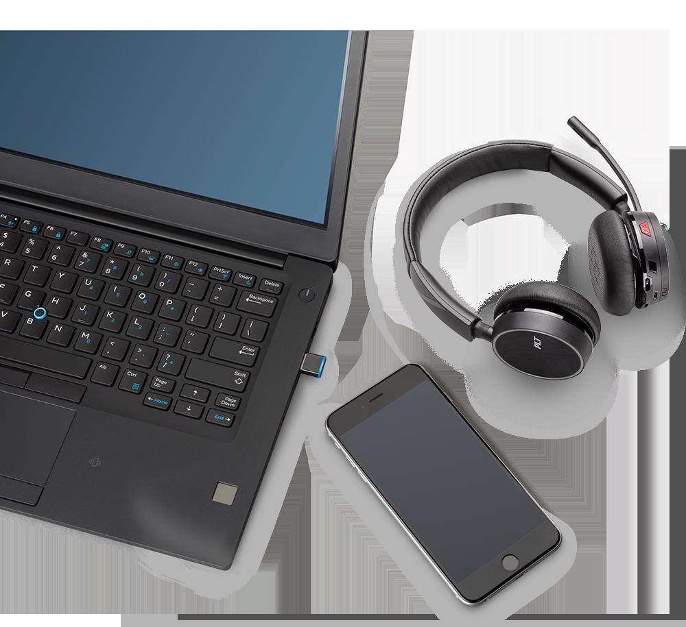 Voyager 4200 UC подключаются к ПК/Mac и смартфонам по беспроводному протоколу Bluetooth 4.1.