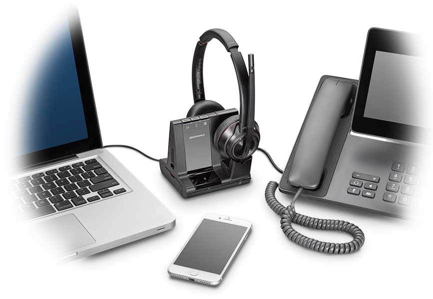 Гарнитуры Savi 8200 поддерживают беспроводные технологии DECT 6.0 и Bluetooth 4.2 для подключения к компьютерам, стационарным телефонам и смартфонам